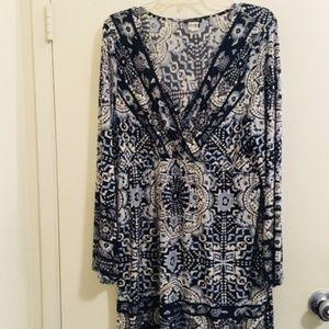 Venus floral blue dress long sleeve Sz XL